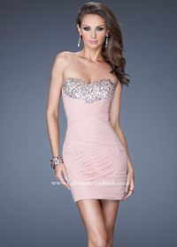 Pink Pleated Jewel Encrusted Bust Short 19424 Dress