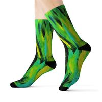 Designer Print 55, Ribbed Tube, Cushioned Bottoms, Crew Length, Fleece Lined, Comfortable, Stylish, Sock Sublimation