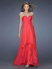 Empire Bateau Chiffon Ankle-length Sashes / Ribbons Evening Dresses