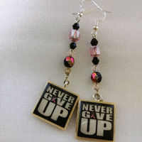 25 inch Breast Cancer Awareness Necklace Earrings Set Pink Ribbon Never Give Up Domino Scrabble Tile One of a Kind Handmade Black and Pink $30.00