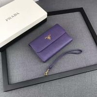 Prada 1M1426 Lettering Logo Saffiano Leather Wallet In Purple
