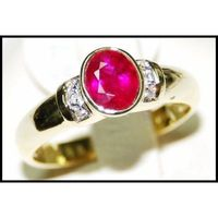 Wedding 18K Yellow Gold Diamond Ruby Solitaire Ring [RS0121]