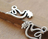 CLEARANCE Pack of 20 Dove and Olive Branch Charms. Different Colours Animal Pendants 19mm x 10mm £5.49