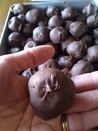 Rice Krispies chocolate balls: Mix together: 2 cup creamy peanut butter 3 cup rice krispies 1lb (3cup) powdered sugar1/4 cup melted butter Make balls and dip in melted: 2 (maybe 3) package milk chocolate chips Put on cookie sheets in fridg...