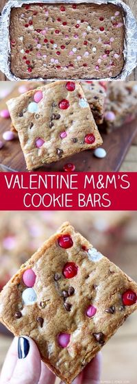 These M&M's Cookie Bars have become an absolute favorite in our house. I made a Christmas version that has been incredibly popular and I wanted to add a Valenti