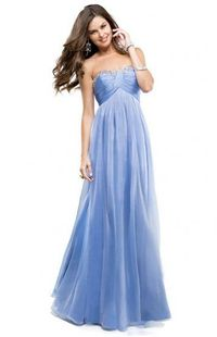 Ruched Bust Blue Sequined Neckline Strapless Long Chiffon Prom Dress