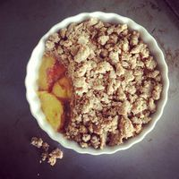 Almond Butter Peach Cobbler for Two #TaylorMadeItPaleo