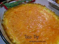 Taco Dip is great dip for any party or holiday! It is so simple to make with only 4 ingredients plus the chips. Everyone is always asking for the recipe, so her