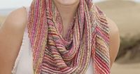 Knitted DROPS shawl in garter st with stripes in �€Fabel�€. ~ DROPS Design