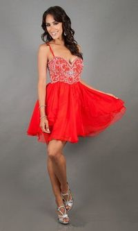 Dave And Johnny 10069 Short Red Sparkly Prom Dress