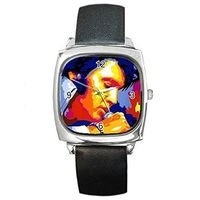 Artisitic Elvis, Mens or Womens Silver Square Watch with Leather Band= Ships From Hong Kong $29.99