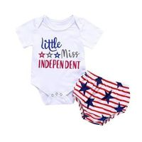Fashion Girls Bodysuits Baby 4th Of July Letter $11.12