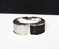 Sterling Silver & CZ's Ring - Black and White - Half and Half Modernist Band Ring - Signed 925 ADI for ADI Paz $65.00