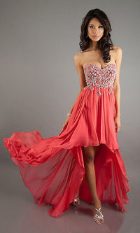 Prom Dresses Red Sheath Sweetheart Chiffon High Low