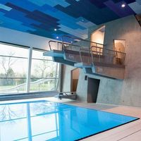 Therme Wien by 4a Architekten. Nice built in diving boards.