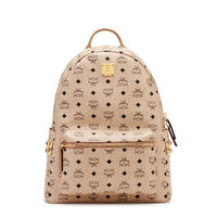 MCM Medium Stark Side Studded Backpack In Beige