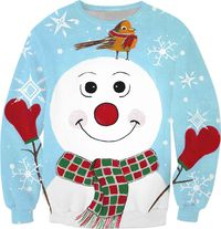 Red Mittens Snowman With Snowflakes Sweatshirt $59.95