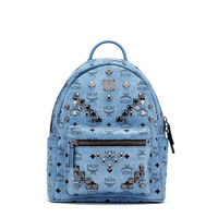 MCM Small Stark M Odeon Studded Backpack In Washed Blue