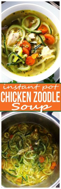 Instant Pot Chicken Zoodle Soup - Only 20 minutes to this amazing, healthy bowl of Chicken Zoodle Soup prepared in a pressure cooker! Paleo friendly!