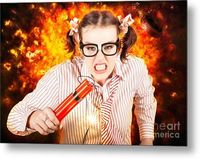 Revenge Of The Nerds Metal Art | Angry Business Person Running With Stick Of Dynamite From A Exploding Fire Bomb While Under Explosive Stress | #revengeofthenerds #metalart #funnydecor #homeofficedecor #officeart #nerds #nerd #geekstuff