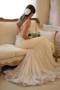 Obsessed with the back.. So tough to find a good wedding dress with straps too!