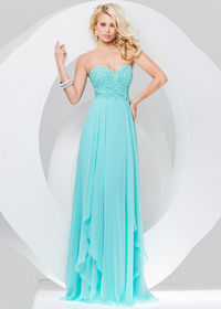 Aqua Long Fitted Strapless Beaded Full Figured Evening Gown