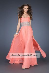 Long Strapless Whole Coral Prom Gowns with Beaded Waist