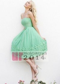 Knee Length Ruched Top Green Party Dress With Lace Hem