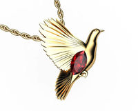 Bird Pendant, Gold Dove Pendant with Ruby Marquise, Wings Pendant, Peace Pendant, Anniversary Gift $1390.00