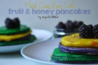 Mardi Gras King Cake Fruit & Honey Pancakes