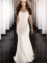 legant strapless v-neck floor length lace wedding dress