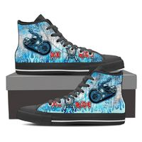 Biker High Top Shoes (Men's & Women's / Black & White) - Ride of Die 1 $71.97