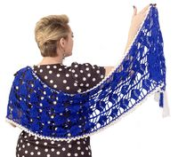 Blue crochet scarf as knit gift, oversized lace clothes for plus size women $56.00