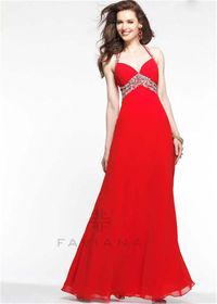 Faviana 7118 Long Red Halter Neck Evening Dresses 2015