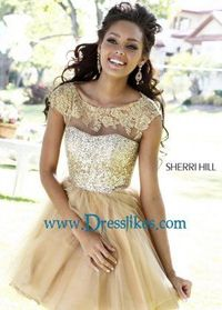 Gold Sequin Top Sheer Lace Neck Short Tulle Sherri Hill 21217 Dress