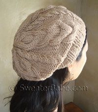 slouchy 2-way cabled hat $4.50 for pdf pattern