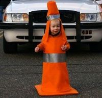 My best Halloween Costume ever. Age 2, Traffic Cone. DIY Halloween costumes for the less-than-crafty mom 2009