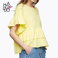 Oversized Vogue Sweet Multi Layered One Color Summer Frilled T-shirt - Bonny YZOZO Boutique Store