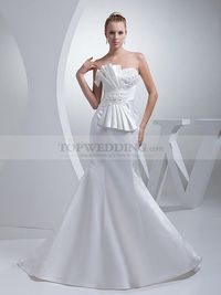 STRAPLESS MERMAID SATIN WEDDING GOWN FEATURES OVERSIZE PLEATED BOW