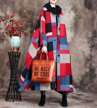 Wool Coat Cloak, Long Wool Jacket, Oversized jacket women,Red plaid wool coat, Maxi wool Cape, Hooded Cape, Wool Hooded Cloak