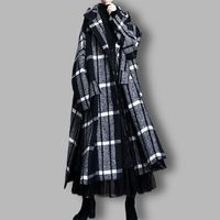 Black cloak woolen coat, Women's winter Coat, Hooded Wool midi Coat, Wool cape, Women overcoat, Plaid woolen overcoat