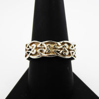 Celtic Knot Wedding Band Size 9 1/4 925 Sterling Silver Ring Vintage 1970s Outlanders Jamie Fraiser Style Welsh, Irish & Scottish Jewelry $60.00