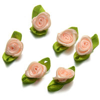 Pack of 100 Assorted Colours Ribbon Flowers. 13mm Fabric Rose Appliques for Xmas Crafts £6.99
