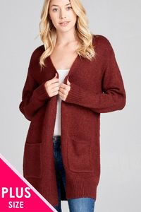 Ladies fashion plus size long sleeve open front w/pocket tunic sweater cardigan $44.50