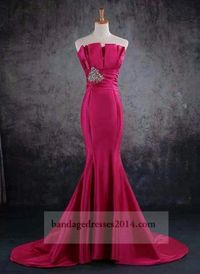 Fuchsia Beaded Trumpet Mermaid Prom Dresses 2014