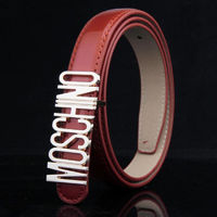 MOSCHINO LOGO BUCKLE PATENT LEATHER BELT RED