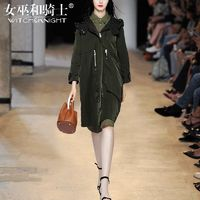 Vogue Arm Green Fall Casual 9/10 Sleeves Hat Coat - Bonny YZOZO Boutique Store