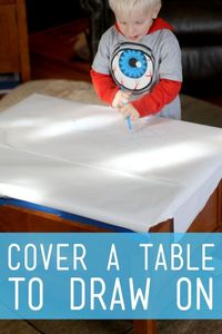 A simple art prompt to set out for the young kids to get creative and draw right on the table. Be creative and find a fun place to set it up!