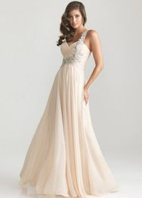 Champagne Long Pleated Beaded One Shoulder Night Moves Prom Dress