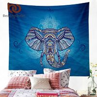 BeddingOutlet Elephant Tapestry Wall Hanging Animal Twin Hippie Tapestry Blue Boho Hippy Bohemian Dorm Decor 150x150cm Bedspread $18.74
